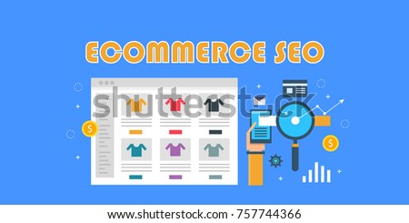 Ecommerce SEO, marketing campaign,  online shopping, website store flat vector banner illustration isolated on blue background