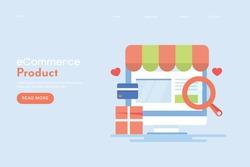 eCommerce SEO, product SEO, digital store, eCommerce marketing - conceptual flat design landing page template