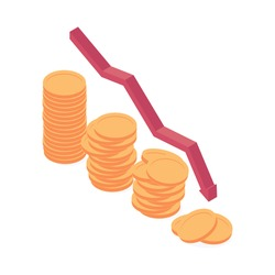 Economic and financial crisis isometric vector illustration. Decrease of golden coin heaps with red decline arrow showing fall and crisis of economy, finance and bank sector.