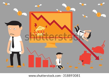 economic crisis elements. financial with investment graph downturn. vector illustration.