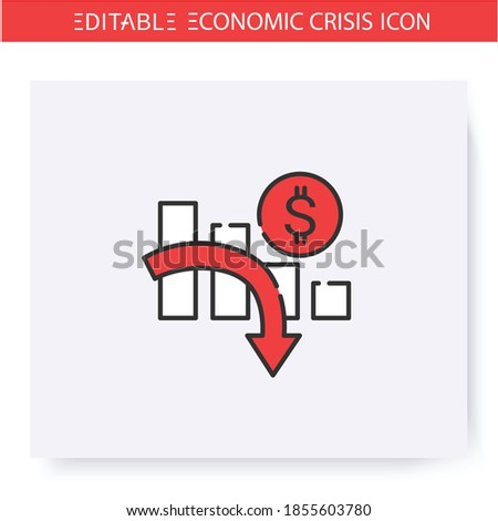 Economic crisis line icon. Profit reduction, financial recession. Downfall arrow and graph. Economical crash and depression, global financial downturn. Isolated vector illustration. Editable stroke  Stockfoto ©
