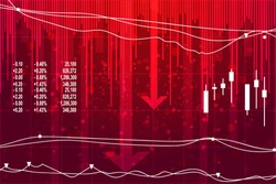 Economic crisis on red background.  Vector illustration of  recession in economy.