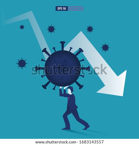 Economic downturn caused by a Coronavirus pandemic or COVID-19 concept. Businessman faces an economic crisis which is marked by arrow symbol. Vector illustration Stock foto ©
