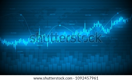Economic graph with diagrams on the stock market, for business and financial concepts and reports.Abstract blue vector background