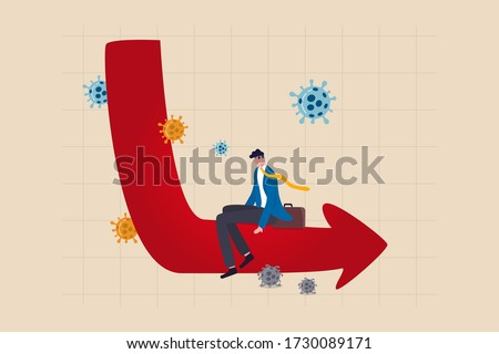 Economic problem in L shape long term recession or great depression from Coronavirus COVID-19 crash concept, depressed hopeless business man sit on economic L shape graph and chart with coronavirus Stock fotó ©