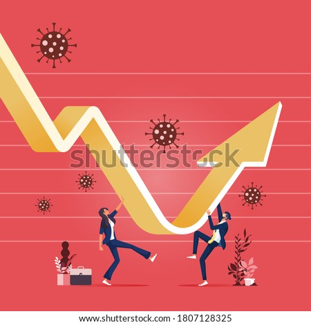 Economic recovery after Coronavirus COVID-19 crash concept,Business team recover and restore with graph and chart with virus pathogen