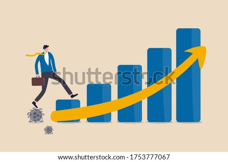 Economic recovery after Coronavirus COVID-19 crisis, post pandemic concept, working businessman investor or company leader walking on Coronavirus pathogen to growing up economic bar graph arrow up. Foto stock ©