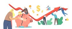 Economic Recovery Concept. Business People Characters Work Together Rising Arrow Graph Try to Survive during Global Crisis. Businesswoman Stick Patch on Broken Piggy Bank. Cartoon Vector Illustration