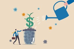 Economic recovery or business and financial market return to normal and growing concept, business owner standing and watering dollar sign plant growing from glass of dead Coronavirus COVID-19 pathogen