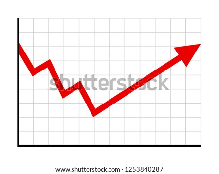 Economic recovery or stock market recovery flat vector graph / chart for financial websites