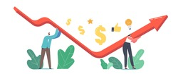 Economic Recovery, Revival Concept. Businessman and Businesswoman Characters Work Together Rising Up V Shaped Arrow Graph Trying to Survive during Global Crisis. Cartoon People Vector Illustration