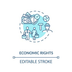 Economic rights concept icon. Socio economic human rights idea thin line illustration. Equal work environment. Desegregation. Vector isolated outline RGB color drawing. Editable stroke