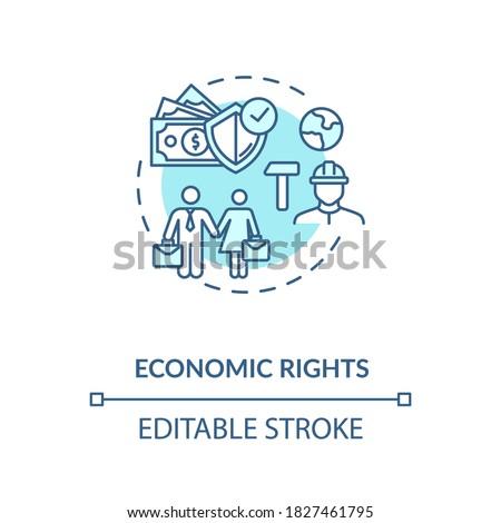 Economic rights concept icon. Socio economic human rights idea thin line illustration. Equal work environment. Desegregation. Vector isolated outline RGB color drawing. Editable stroke Zdjęcia stock ©
