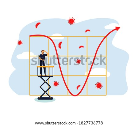 Economic V shape recovery after Coronavirus COVID-19 crash concept, businessman professional analyse world economic, business will recover and restore with v shape graph and chart with virus pathogen Stock photo ©