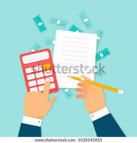 Economics, calculations, hands with a calculator and money. Flat design vector illustration.