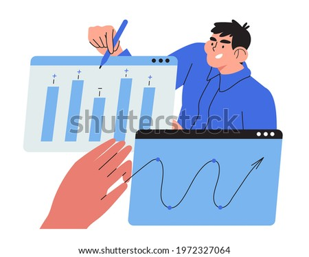 Economics strategy, analysis of sales, statistic, data collection illustration for banner, landing web page. Analyst collect data and analyse business, business solution . Man discuss presentation.
