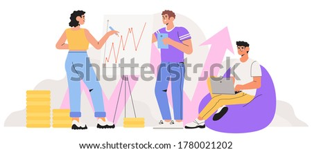 Economics strategy, analysis of sales, statistic grow data illustration for banner, landing or web page. People collect data and analyse business, investment in innovation. Team make presentation.