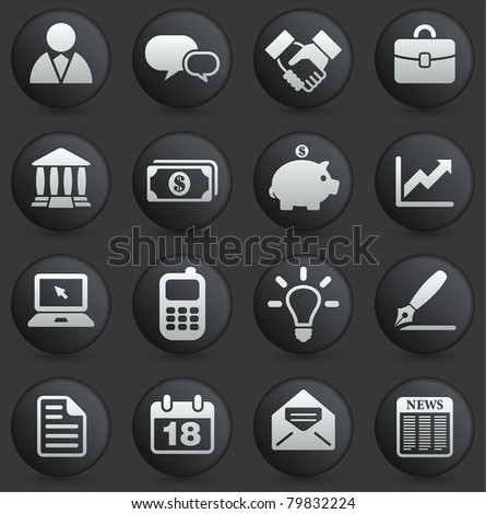 Economy Icon on Round Black and White Button Collection Original Illustration
