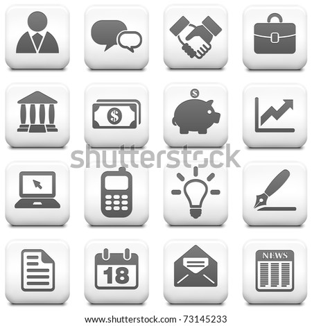 Economy Icon on Square Black and White Button Collection Original Illustration