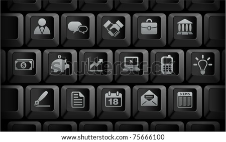 Economy Icons on Black Computer Keyboard Buttons Original Illustration