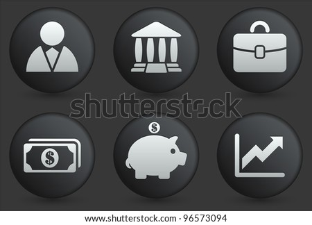 Economy Icons on Black Internet Button Collection Original Illustration - stock vector