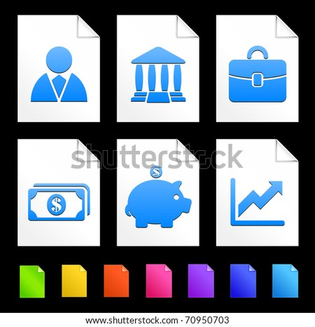 Economy Icons on Colorful Paper Document Collection Original Illustration