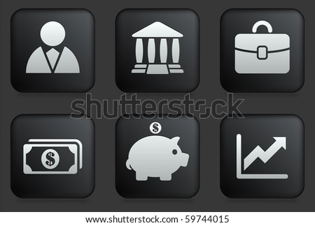 Economy Icons on Square Black Button Collection Original Illustration