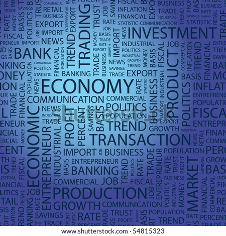 ECONOMY. Word collage on blue background. Vector illustration.