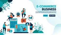 Ecosystem in e-commerce business. Starting choosing product, payment & shipping method. Calculator for bagets. Flat vector illustration for landing page, website, banner, mobile apps, flyer, poster