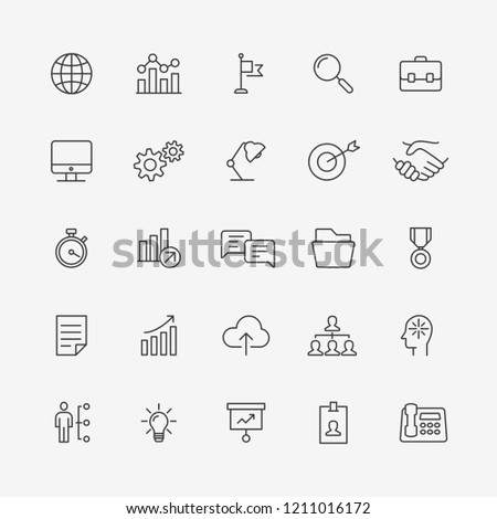 ector illustration of thin line icons for business, information, technology, vector illustration flat design. Linear symbols set.