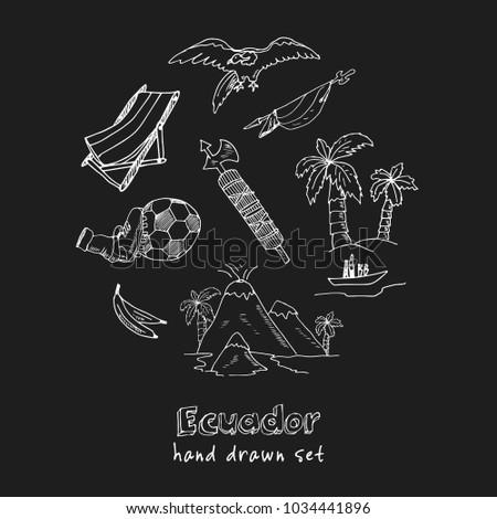 ecuador hand drawn doodle set
