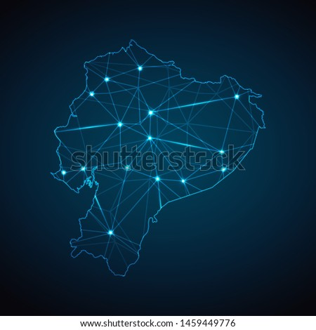Ecuador Map - Abstract geometric mesh polygonal network line, structure and point scales on dark background with lights in the form of cities. Vector illustration eps 10.