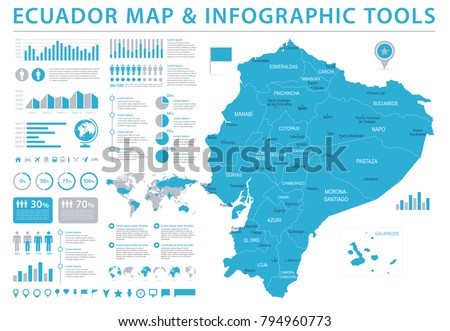 Ecuador Map - Detailed Info Graphic Vector Illustration