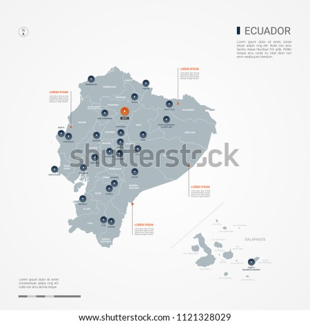 Ecuador map with borders, cities, capital Quito and administrative divisions. Infographic vector map. Editable layers clearly labeled.