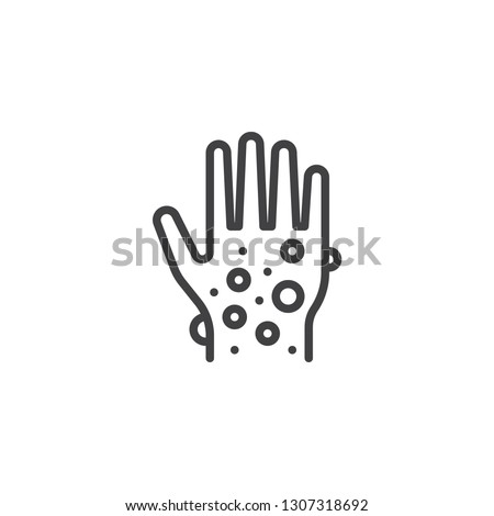 Eczema hand skin line icon. linear style sign for mobile concept and web design. Rash hand, allergic reaction outline vector icon. Symbol, logo illustration. Pixel perfect vector graphics