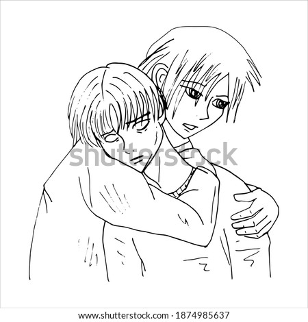Ed and Lenny. LGBT couple. Anime style. Minimalism. Vector illustration isolated on white background. Stock fotó ©