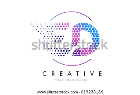 ED E D Pink Magenta Dotted Bubble Letter Logo Design Dots Lettering Vector Illustration
