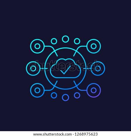 Edge Computing vector linear icon