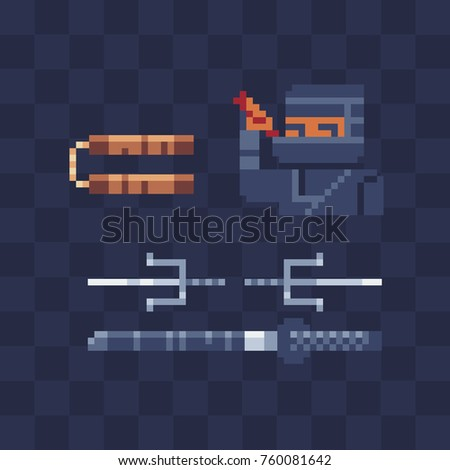Edged weapons ninja pixel art icon. Samurai character. Video game sprite. Nunchaku, sword, katana. Old school computer graphic design. 8-bit style. Isolated vector illustration.