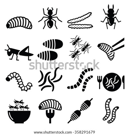 edible worms and insects icons