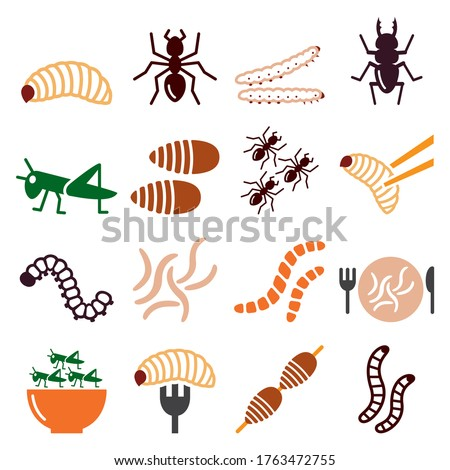 Edible worms and insects vector icons set - alternative source on protein in food. Food and nature color icons set - maggots, bugs isolated on white  Foto stock ©