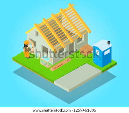 Edifice concept banner. Isometric banner of edifice vector concept for web, giftcard and postcard