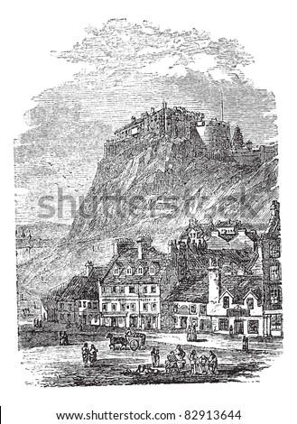 Edinburgh Castle in Scotland, during the 1890s, vintage engraving. Old engraved illustration of Edinburgh Castle. Trousset encyclopedia (1886 - 1891).