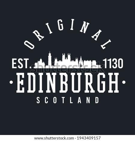 Edinburgh, Scotland, UK Skyline Original. A Logotype Sports College and University Style. Illustration Design vector.