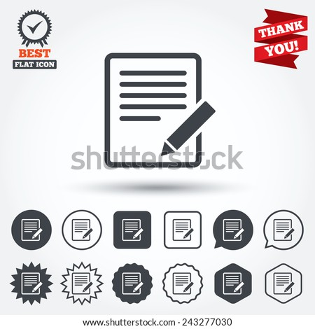 Edit document sign icon. Edit content button. Circle, star, speech bubble and square buttons. Award medal with check mark. Thank you ribbon. Vector