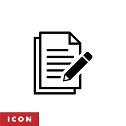 Edit file icon, sign up icon vector isolated