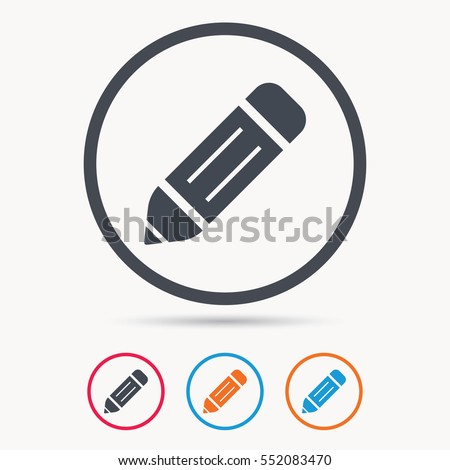 Edit icon. Pencil for drawing symbol. Colored circle buttons with flat web icon. Vector