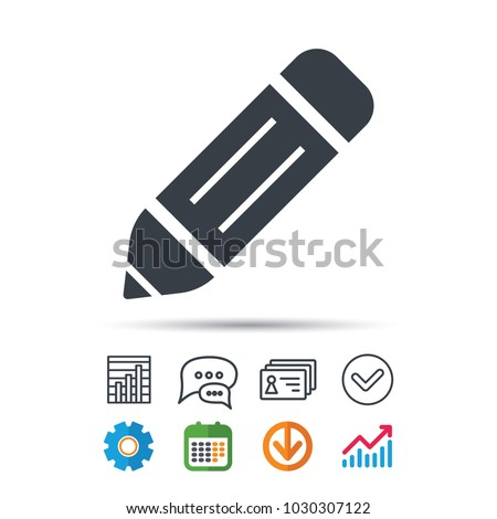 Edit icon. Pencil for drawing symbol. Statistics chart, chat speech bubble and contacts signs. Check web icon. Vector