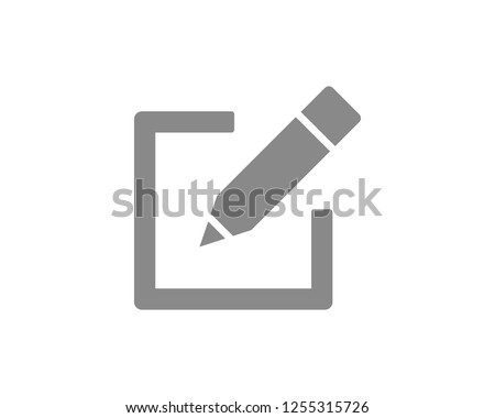 Edit icon, sign up Icon gray vector illustration. symbol for web site Computer and mobile vector. #1255315726