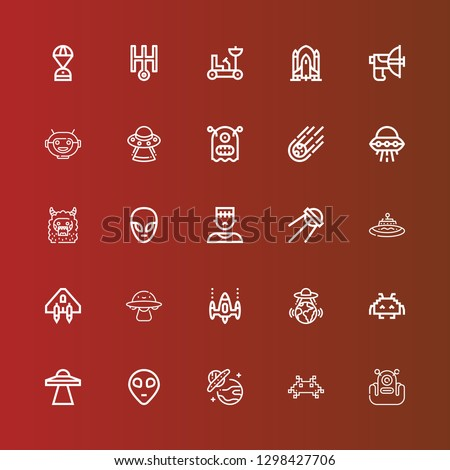 Editable 25 alien icons for web and mobile. Set of alien included icons line Alien, Invader, Ufo, Space invaders, Ovni, Spaceship, Sputnik, Monster, Meteorite, Robot mask on red